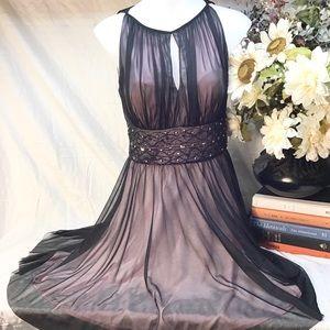 Black chiffon with pink cocktail sleeveless dress
